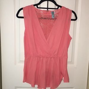 Coral lace front draped peplum sleeveless top